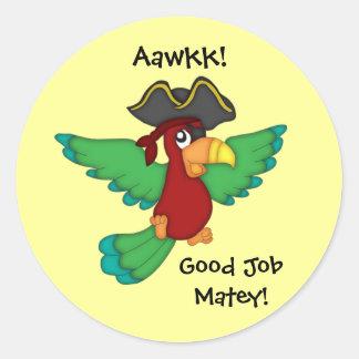 Good Job Matey!-Pirate Parrot Classic Round Sticker