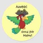 Good Job Matey!-Pirate Parrot Round Stickers