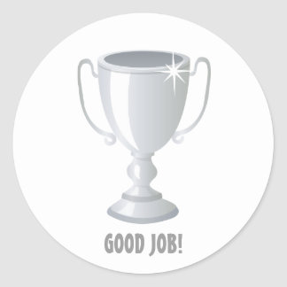 Good Job SIlver Trophy Round Sticker