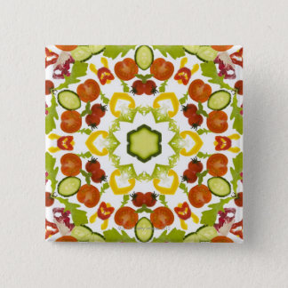 Good karma and well being from a healthy diet 15 cm square badge