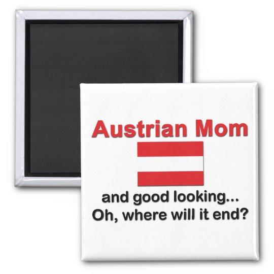 Good Looking Austrian Mum Square Magnet