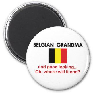 Good Looking Belgian Grandma 6 Cm Round Magnet