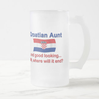 Good Looking Croatian Aunt Frosted Glass Mug