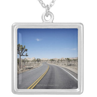good looking street in the middle of the dessert silver plated necklace