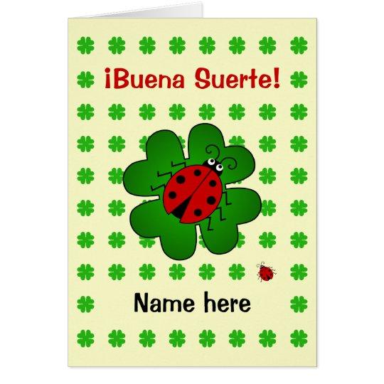 Good luck add name buena suerte card