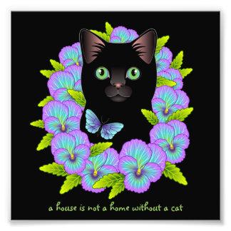 Good Luck Black Cat Mauve Pansy Floral print Photo