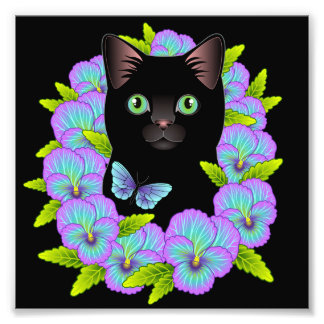 Good Luck Black Cat Mauve Pansy Floral print Photographic Print