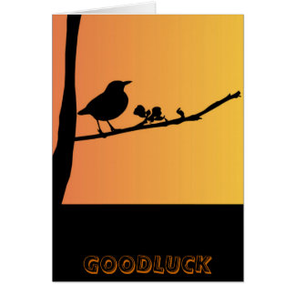 Good Luck Blackbird Silhouette Card