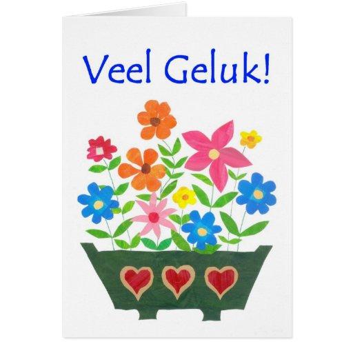 Good Luck Card, Dutch Greeting - Flower Power