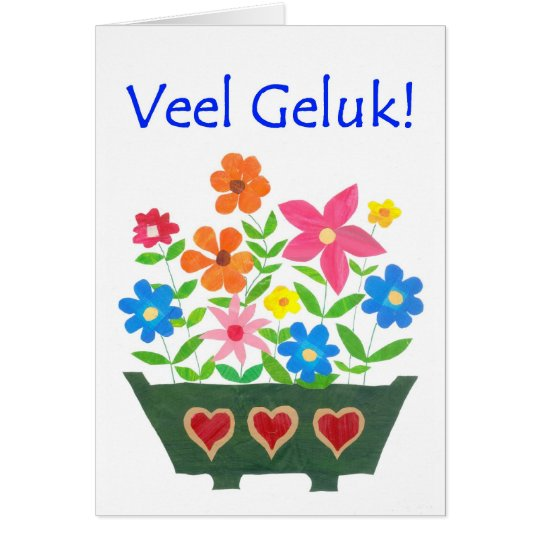 Good Luck Card, Dutch Greeting - Flower Power Card