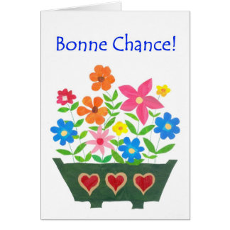 Good Luck Card French Greeting - Flower Power