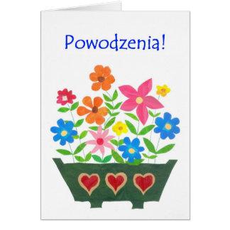 Good Luck Card, Polish Greeting - Flower Power Card