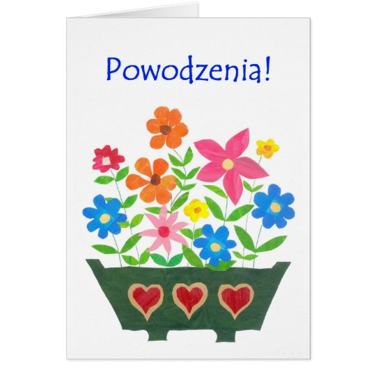 Good Luck Card, Polish Greeting - Flower Power
