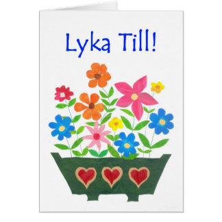 Good Luck Card, Swedish Greeting - Flower Power Card
