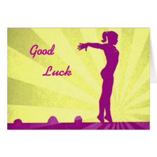 Good Luck Card with pink Gymnast