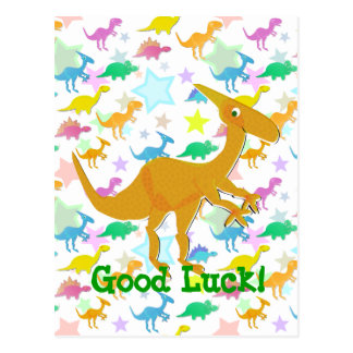 Good Luck Cartoon Dinosaur Postcard