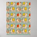 Good luck circus elephants cute elephant pattern poster