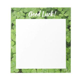 Good Luck clover green nature notepad. Notepad