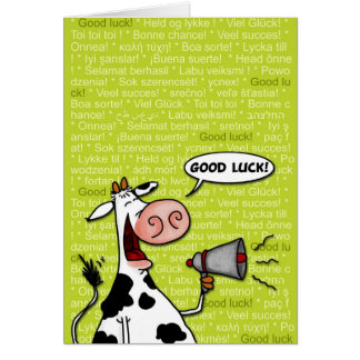 good luck cow greeting card