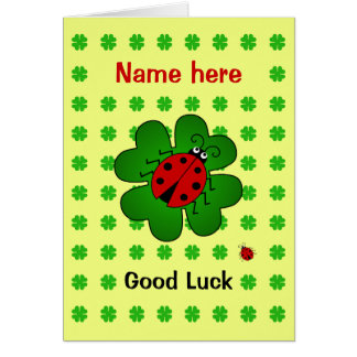 Good Luck custom name ladybird clover Card
