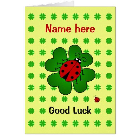 Good Luck custom name ladybird clover Card