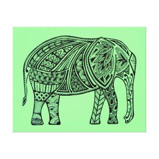 Good Luck Elephant Green Canvas Print