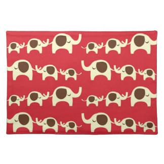 Good luck elephants cherry red cute nature pattern place mats