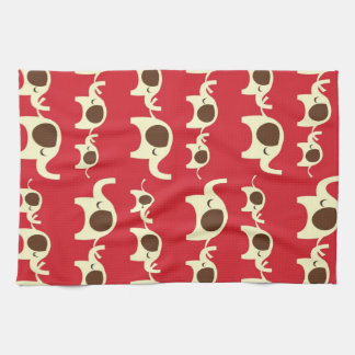 Good luck elephants cherry red cute nature pattern tea towel