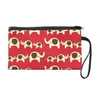 Good luck elephants cute animal nature red pattern wristlet