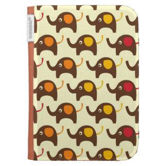 Good luck elephants kawaii cute nature pattern tan kindle cover