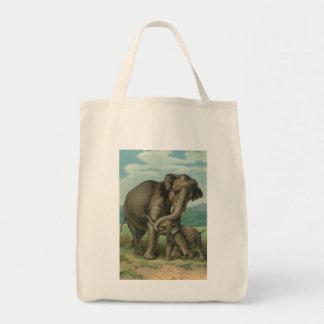 Good luck elephants vintage book illustration