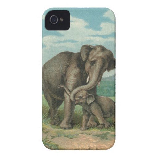 Good luck elephants vintage book illustration iPhone 4 covers