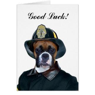 Good Luck Fireman Boxer Dog Card