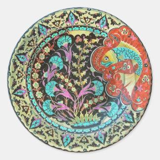 Good Luck Fish Symbol with Botanical Handwork Classic Round Sticker