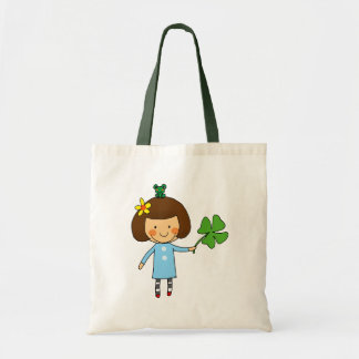Good luck girl with a four leaf clover budget tote bag
