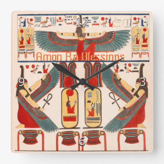 Good Luck Hieroglyphics, Egyptian God Amon Ra Wall Clocks