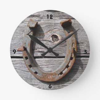 Good Luck Horseshoe on Wooden Fence Wall Clock