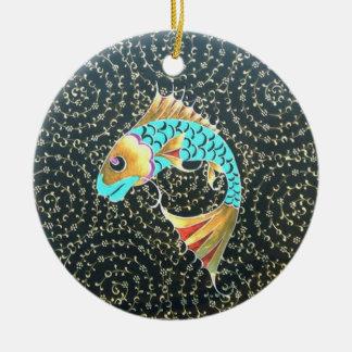 Good Luck Koi Fish Symbol of Fortune Round Ceramic Decoration