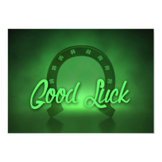 Good Luck Lucky Shamrock Horseshoe Card
