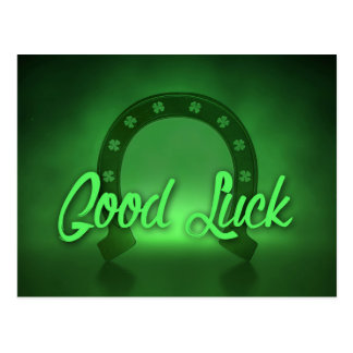 Good Luck Lucky Shamrock Horseshoe Postcard