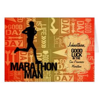 Good Luck Marathon Man Orange and Yellow Greeting Card