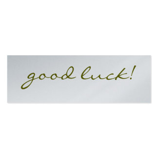 Good Luck: Silver Greeting Tag Pack Of Skinny Business Cards