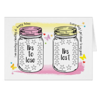 Good Luck Slimming Club Member Weight Tracker Jars Greeting Card