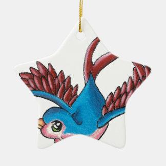 Good Luck Sparrow Ceramic Star Decoration