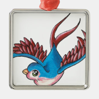 Good Luck Sparrow Silver-Colored Square Decoration