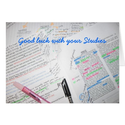 Good luck with your Studies Cards