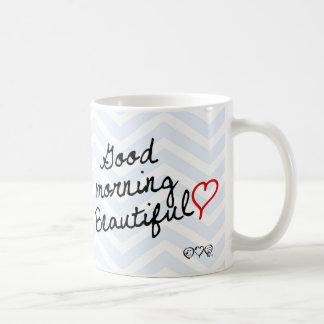 Good Morning Beautiful! Light Blue Chevron pattern Coffee Mug