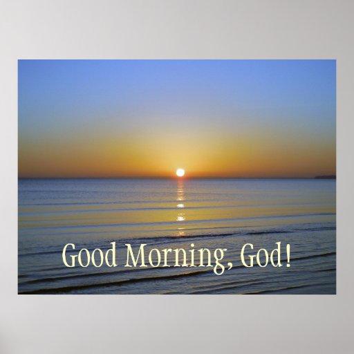 Good Morning God Sunrise Inspirational Christian Poster