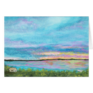 Good Morning Landscape Art Seashore Beach Sunrise Card