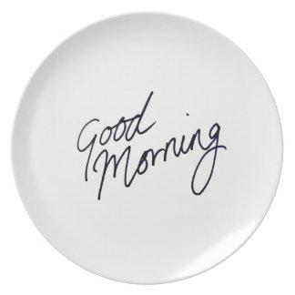 Good Morning Melamine Plate
